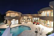 The outdoor deck and pool area of Kurt Warner's home.
