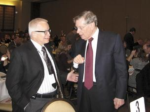 "Allan ""Bud"" Selig, commissioner of Major League Baseball, right, said Dr. Daniel Von Hoff, physician in chief of TGen, has a national reputation for cancer care and research."