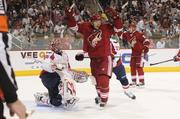The Phoenix Coyotes celebrate a goal.