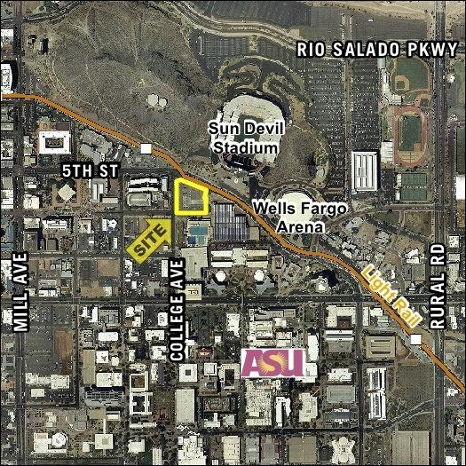 The map above shows the relation of a property Core Campus Communities recently bought to Arizona State University amenities.