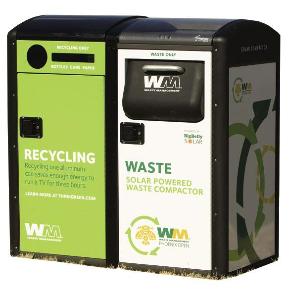 Waste Management recycling bins such as this were a staple at the Waste Management Phoenix Open last week. They were designed to make it easier for the company to divert trash from the event away from landfills.