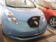 The 2011 Nissan Leaf charges up.