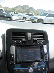 The interior of the 2011 Nissan Leaf.