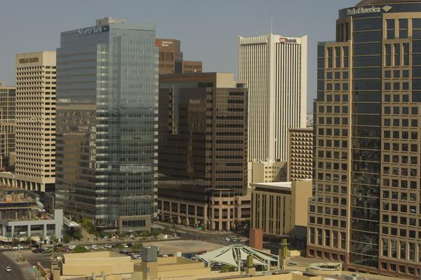 New research from Jones Lang LaSalle shows downtown Phoenix with a 15 percent office vacancy rate.
