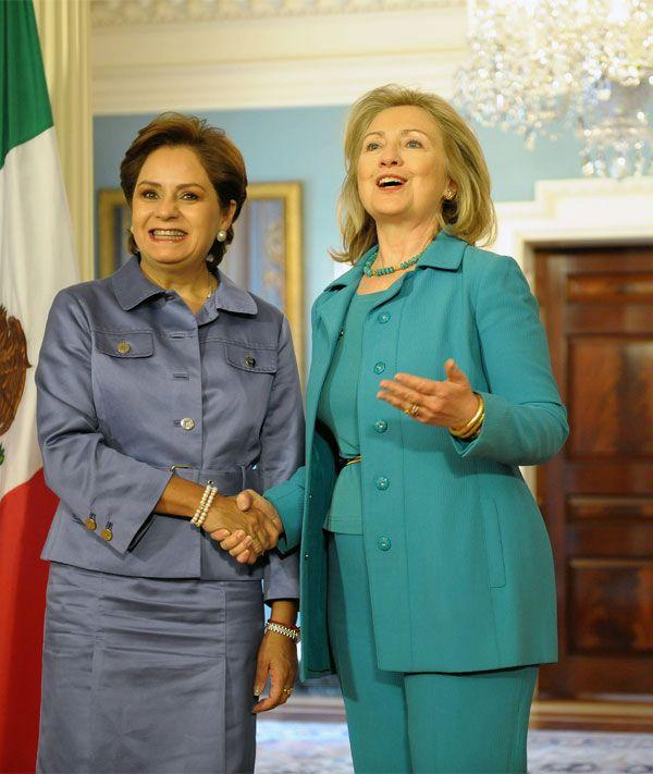 U.S. Secretary of State Hillary Clinton with Mexican Foreign Minister Patricia Espinosa