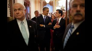 President Obama and U.S. Rep. Eric Cantor, R-Va., before the former's jobs speech on Thursday.