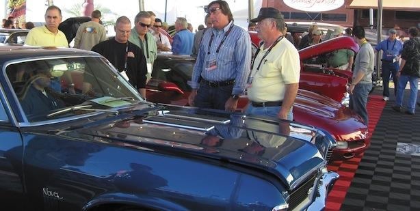 Cars await entry to the auction block at a recent Barrett-Jackson auction.