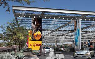 The structure, named the PowerParasol, would cover parking spaces near Sun Devil Stadium on ASU's campus in Tempe.