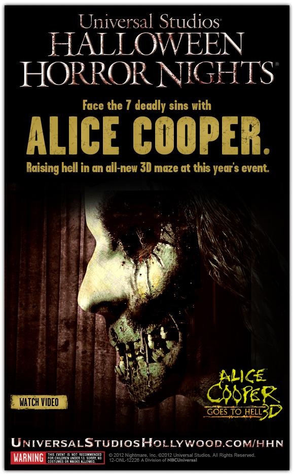 Alice Cooper's Halloween Horror Nights are coming to Universal Studios.