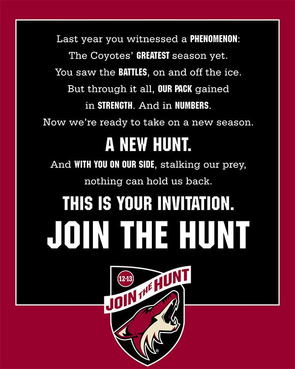 """The Phoenix Coyotes' """"Join the Hunt"""" ad campaign leans on the team's success last season."""