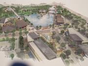 A rendering of the 28-foot deep lake and the Paseo, a walkway which could feature shopping and restaurants as the park area develops.