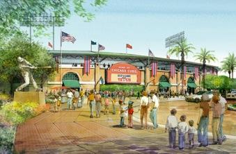 A rendering of the new Chicago Cubs Cactus League park planned for Mesa.