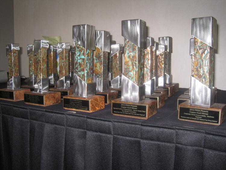 The Public Relations Society of America's Phoenix Chapter awarded 10 Copper Anvils and 14 Awards of Merit during an awards event Thursday night in Phoenix.