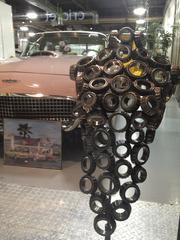 Artwork made out of car parts.