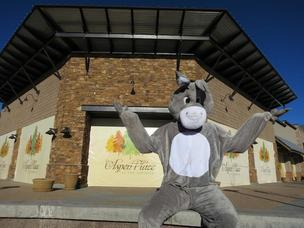Nacho the burro, the Someburros mascot, outside what will soon become the new Someburros restaurant in Flagstaff.