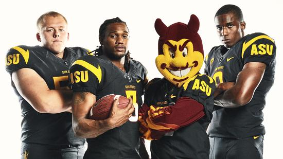 ASU's new black football uniforms.
