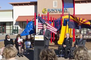 Phoenix Mayor Greg Stanton helps to roll out the At Work for Arizona Business Loan Alliance on Dec. 19.