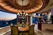 A dining area with views of the Valley below.
