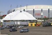 The main tent is erected outside University of Phoenix Stadium.