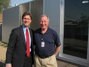 Phoenix Mayor Greg Stanton (left) joins Shaller Anderson CEO Tom Kelly, who moved into a Mod Box this week.