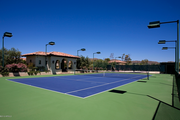 A lighted tennis course on the property.
