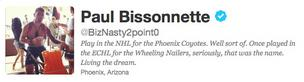 A screen shot of Paul Bissonnette's Twitter profile.