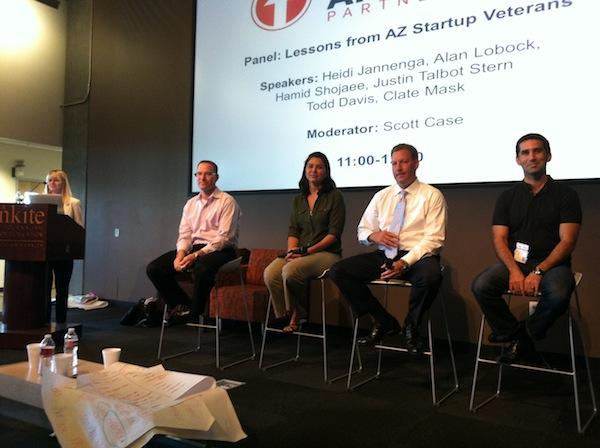 """Tishin Donkersley, editor for AZ Tech Beat and founder of Elements Communication, moderates the """"Lessons from AZ startup veterans"""" panel. The panelists from left to right are Infusionsoft CEO and founder Clate Mask, WebPT CEO and co-founder Heidi Jannenga, LifeLock CEO Todd Davis and Axosoft CEO Hamid Shojaee."""