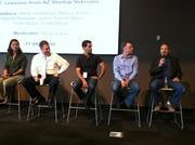 The startup veteran panel included (left to right): WebPT CEO and co-founder Heidi Jannenga, LifeLock CEO Todd Davis, Axosoft CEO Hamid Shojaee, B2G Now CEO Justin Talbot-Stern and Skymall co-founder Alan Lobock.