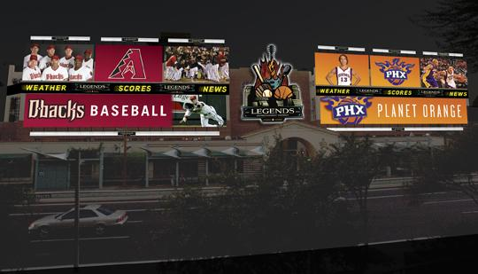 The Legends Entertainment District will have several new businesses appearing on its billboards in downtown Phoenix.