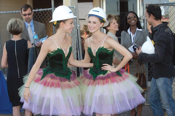 Ballet Arizona dancers Sarah Chisholm, left, and Beau Campbell help celebrate the groundbreaking of the ballet's new home at 2835 E. Washington St. in Phoenix.