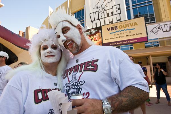 Rob Randall and Tina Ray are among the Phoenix Coyotes fans who patronize Westgate City Center eateries and bars before and after hockey games.
