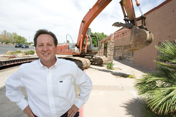 Michael Lieb, principal broker and owner of Michael A. Lieb Ltd., visits the construction site of a 234-unit apartment complex at Scottsdale and Curry roads.
