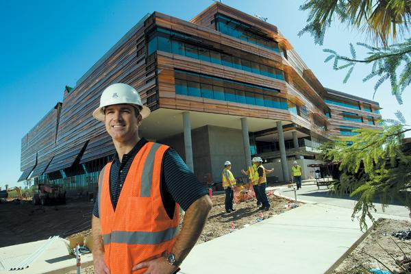 Jason Harris, deputy director of the Phoenix Department of Community and Economic Development, says this 270,000-square-foot Health Sciences Education Building will be ready for occupancy in mid-July on the Phoenix Biomedical Campus.