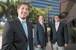 Colliers International brokers, from left, Evan Koplan, Trevor Koskovich and Jeff Sherman have stuck with their profession despite challenges the recession has presented.