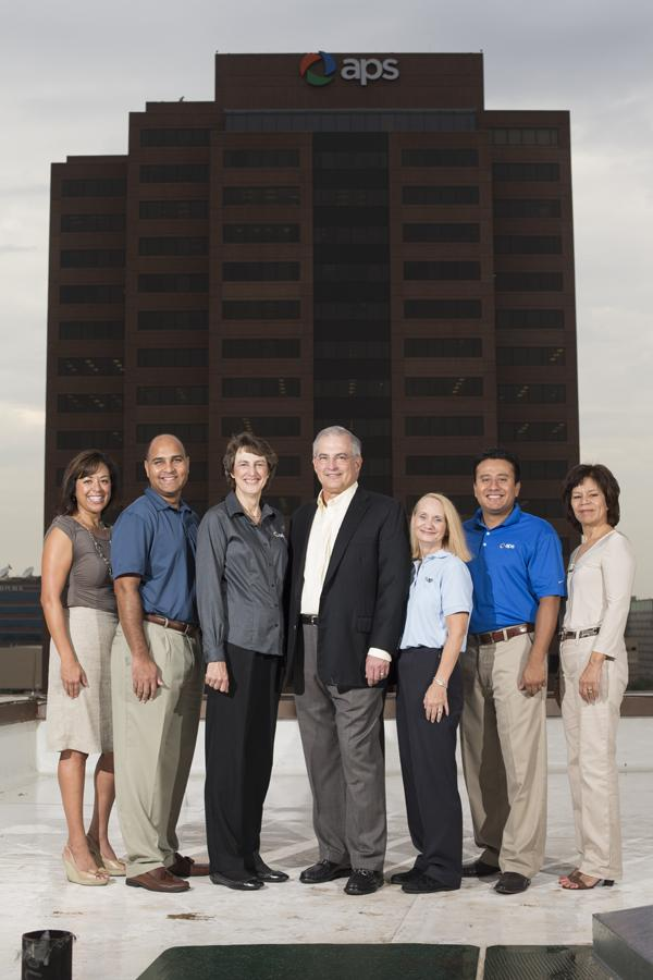 APS' team of diversity champs includes, from left, Tina Marie Tentori, director of organization and leadership effectiveness; Subba Nishtala, director of strategic procurement; Barbara Gomez, vice president of supply chain management; Donald Brandt, chairman and CEO; Sandy Gilbert, supplier diversity coordinator; Miguel Bravo, community development consultant; and Maria Arellano, communications consultant.