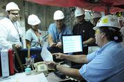 Employees at Palo Verde Nuclear Generating Station get a briefing on the day's activity.