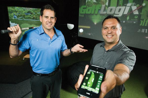 GolfLogix President Pete Charleston, left, and CEO Scott Lambrecht show off the company's smartphone app, which provides personalized and customizable content for golfers.