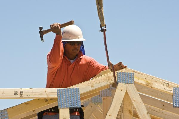 A construction worker on a Shea Homes project.