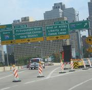 Traffic was blocked into downtown Pittsburgh from the Fort Pitt Bridge and Fort Pitt Tunnel during the standoff at Three Gateway Center.