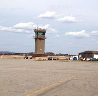 The air-traffic control tower at Arnold Palmer Regional Airport in Latrobe.