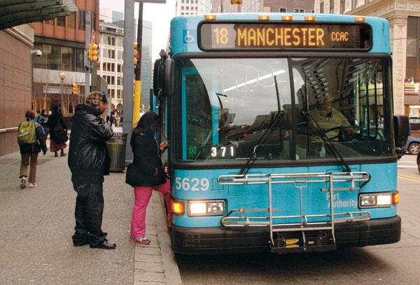 Cities chosen for the grants were Chicago, Boston, Nashville and Pittsburgh. Shown is a bus in Pittsburgh.