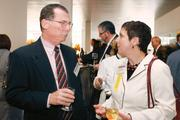 Jim Escovitz of Babst Calland Clements Zomnir talks with Cheryl  Talerico of Sisterson & Co. LLP at the Diamond Awards event.