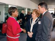 Doris Carson Williams, African American Chamber of Commerce, left, networks with EQT Corp.'s Charlene Petrelli and Kevin West.