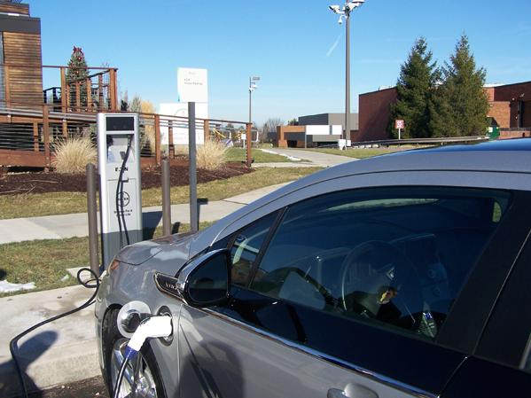 The electric-vehicle charging station opened Wednesday, Feb. 1, at Bayer Corp.'s U.S. headquarters in Pittsburgh.