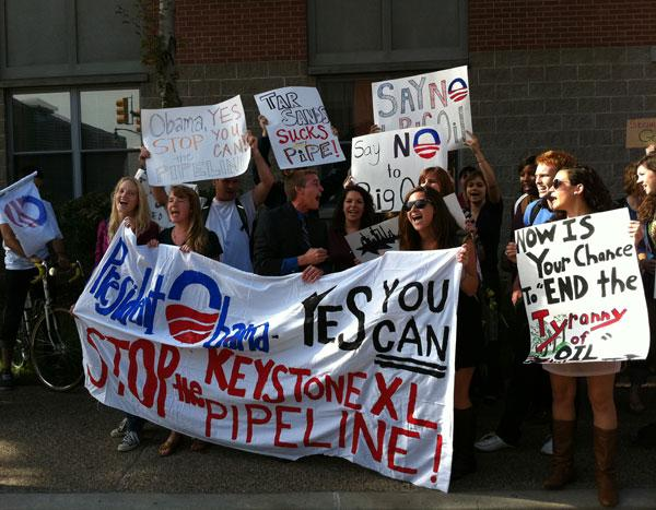 A group of Keystone XL pipeline protesters