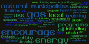 "A word cloud generated from recommendations proposed by the Energy & Environment Vision Team. Words getting the most mention appear the biggest. (The words ""Allegheny"" and ""county"" have been omitted)."