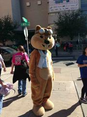 There was an abundance of giant animal costumes representing companies like the Firefox fox, Hipmunk chipmunk, pictured, and a Taskrabbit Dumb-and-Dumber-style van.