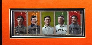 This is a proof strip of baseball cards auctioned by Sotheby's in New York in September 1999 for $85,000. They included from left: Mordecai Brown, Honus Wagner, Frank Bowerman, Cy Young and Johnny Kling. A sole Honus Wagner card is up for auction from ano