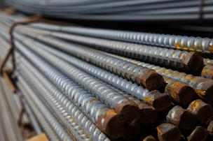 Bundles of steel from Nucor Corp. (NYSE: NUE).