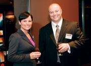 Tania Hellmann of Comcast Business Services and Bob Breisinger of Mascaro Construction Co. LP at the Pittsburgh Business Times' 2012 Book of Lists reception Jan. 23 at the Rivers Club in Downtown Pittsburgh.
